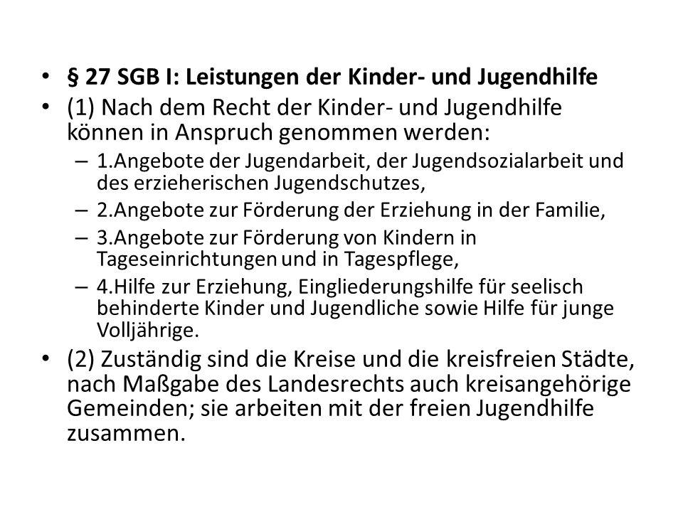§ 27 SGB I: Leistungen der Kinder- und Jugendhilfe