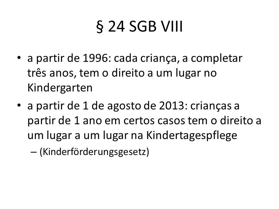 § 24 SGB VIII a partir de 1996: cada criança, a completar três anos, tem o direito a um lugar no Kindergarten.