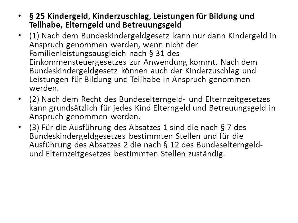 § 25 Kindergeld, Kinderzuschlag, Leistungen für Bildung und Teilhabe, Elterngeld und Betreuungsgeld