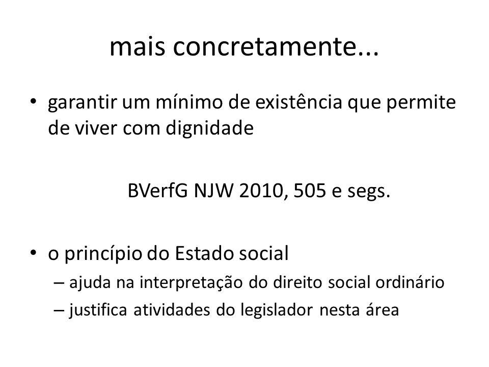 mais concretamente... garantir um mínimo de existência que permite de viver com dignidade. BVerfG NJW 2010, 505 e segs.