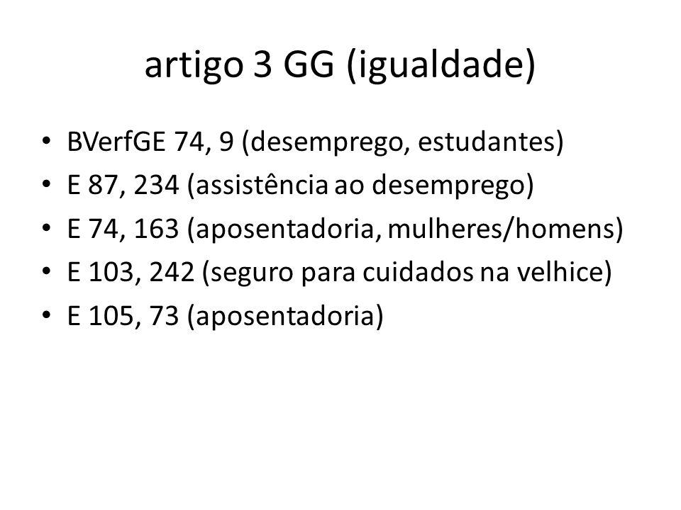 artigo 3 GG (igualdade) BVerfGE 74, 9 (desemprego, estudantes)