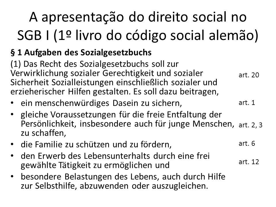 A apresentação do direito social no SGB I (1º livro do código social alemão)