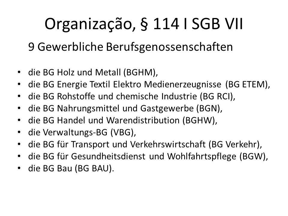 Organização, § 114 I SGB VII 9 Gewerbliche Berufsgenossenschaften