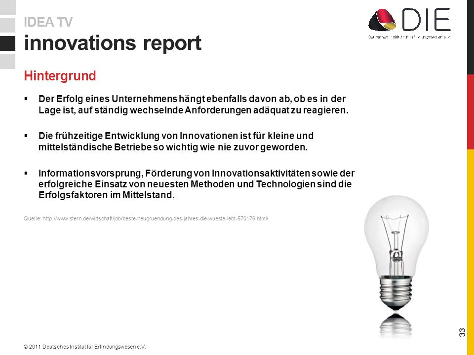 innovations report IDEA TV Hintergrund