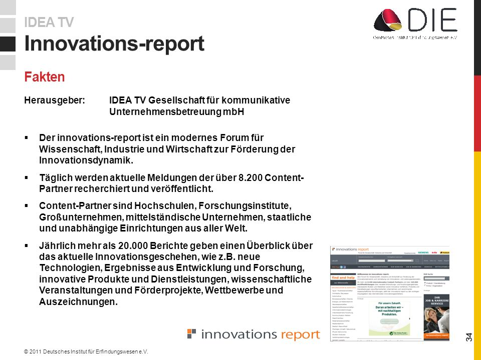 Innovations-report IDEA TV Fakten