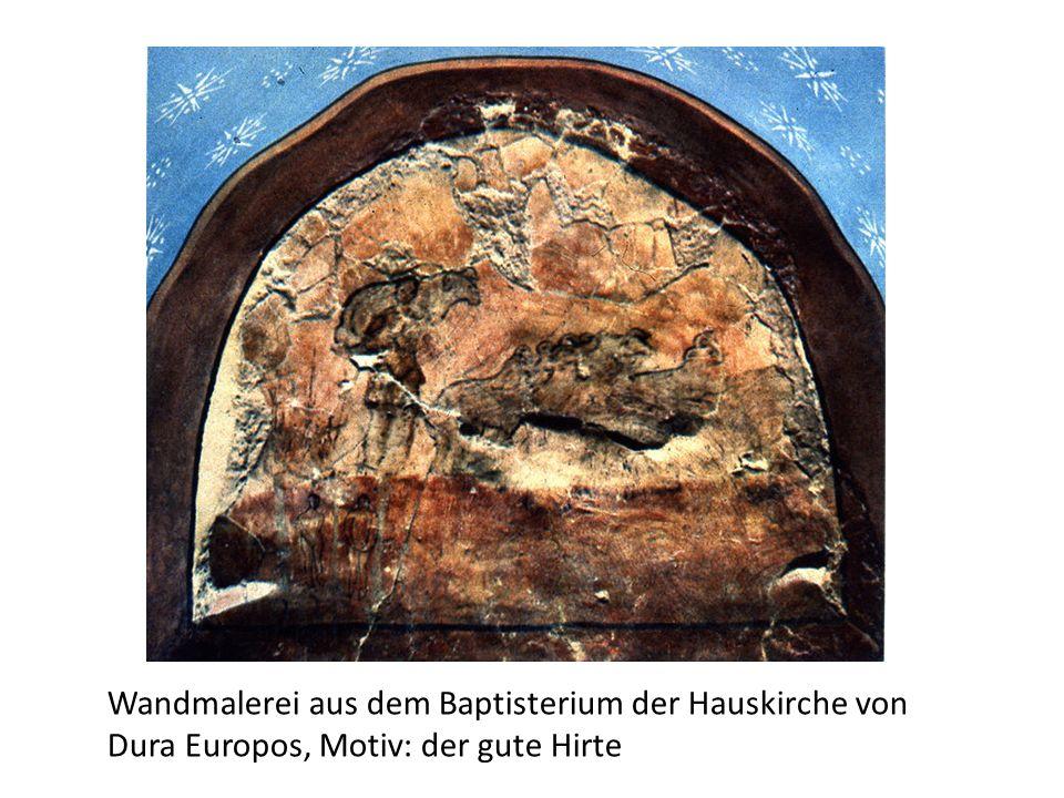 Wandmalerei aus dem Baptisterium der Hauskirche von Dura Europos, Motiv: der gute Hirte