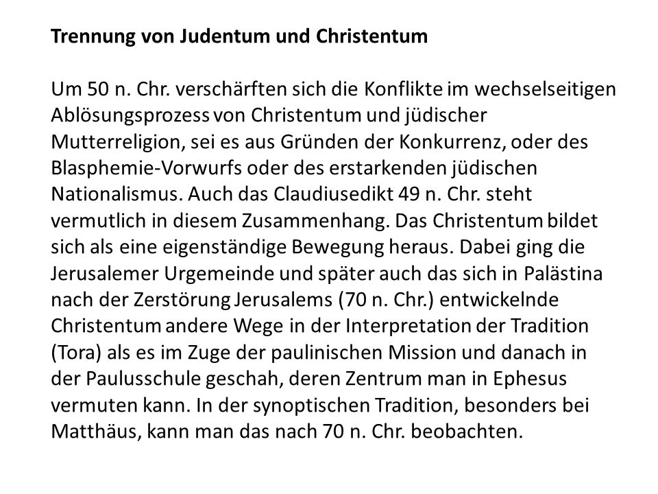 Trennung von Judentum und Christentum