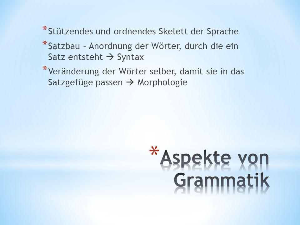 Aspekte von Grammatik Stützendes und ordnendes Skelett der Sprache