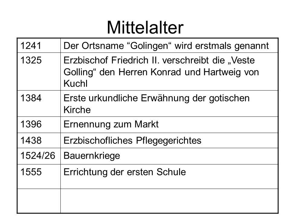 Mittelalter 1241 Der Ortsname Golingen wird erstmals genannt 1325
