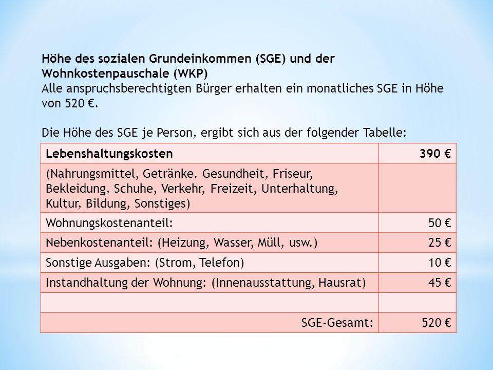 Höhe des sozialen Grundeinkommen (SGE) und der Wohnkostenpauschale (WKP) Alle anspruchsberechtigten Bürger erhalten ein monatliches SGE in Höhe von 520 €.