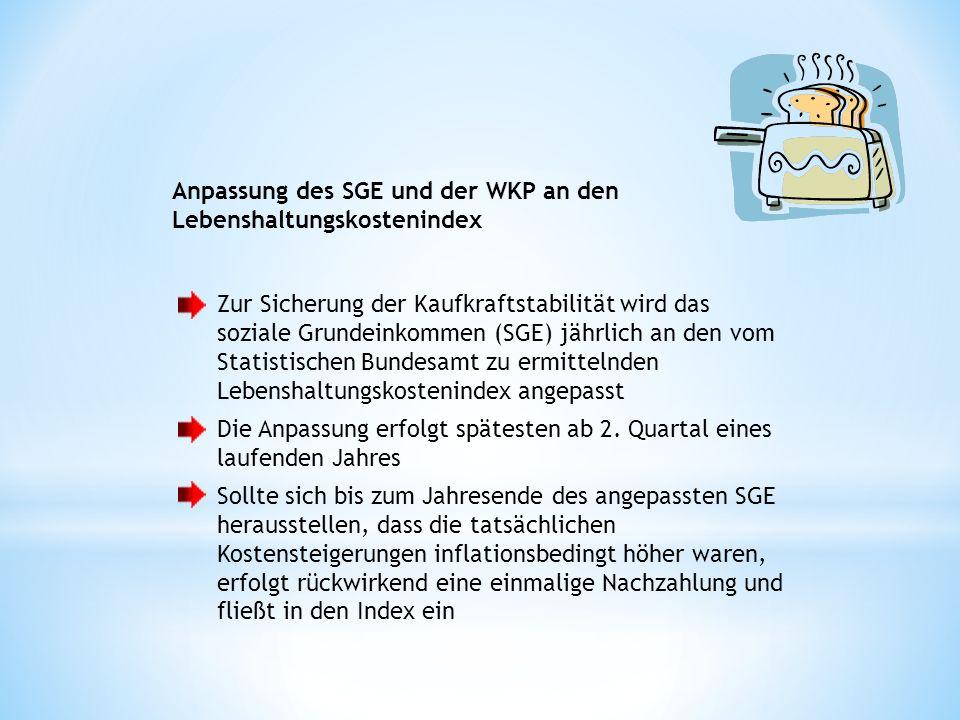 Anpassung des SGE und der WKP an den Lebenshaltungskostenindex