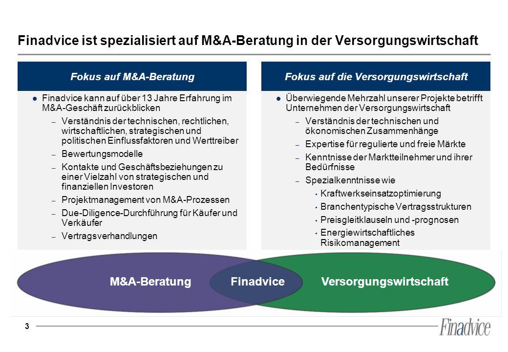 Fokus auf M&A-Beratung Fokus auf die Versorgungswirtschaft
