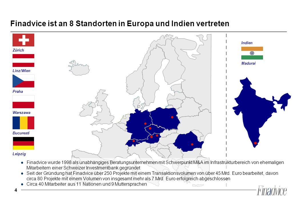 Finadvice ist an 8 Standorten in Europa und Indien vertreten