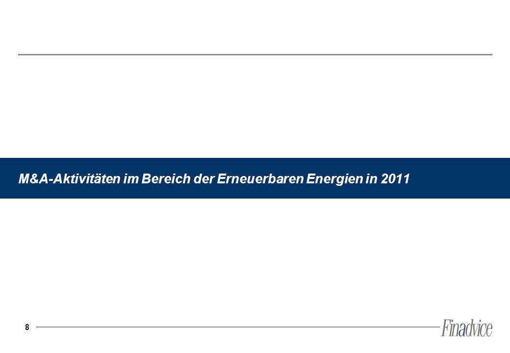 M&A-Aktivitäten im Bereich der Erneuerbaren Energien in 2011