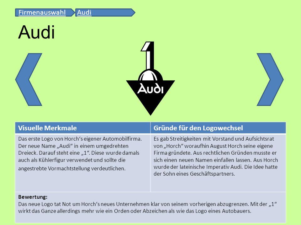 Audi Firmenauswahl Audi Visuelle Merkmale Gründe für den Logowechsel