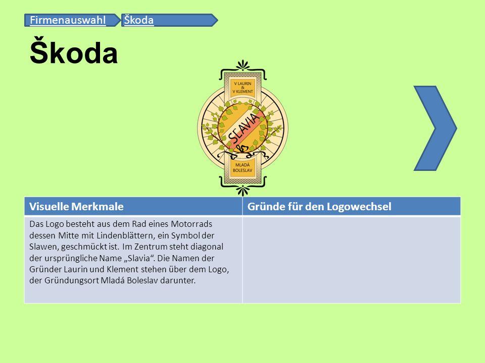 Škoda Firmenauswahl Škoda Visuelle Merkmale Gründe für den Logowechsel