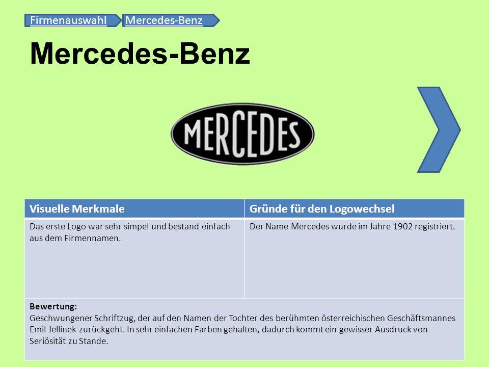 Mercedes-Benz Firmenauswahl Mercedes-Benz Visuelle Merkmale