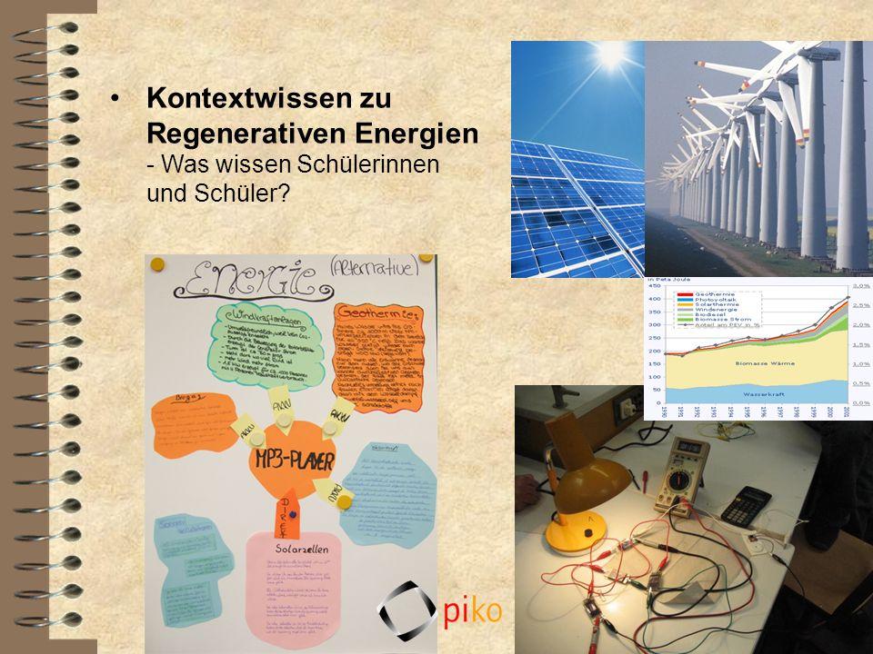 Kontextwissen zu Regenerativen Energien - Was wissen Schülerinnen und Schüler