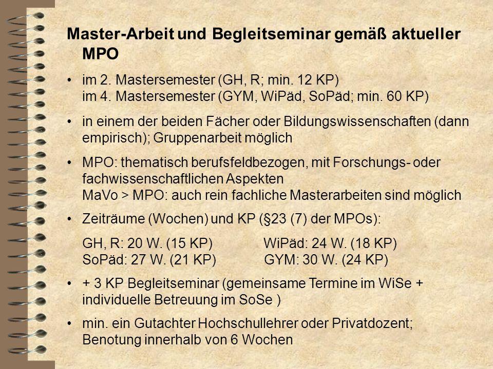 Master-Arbeit und Begleitseminar gemäß aktueller MPO