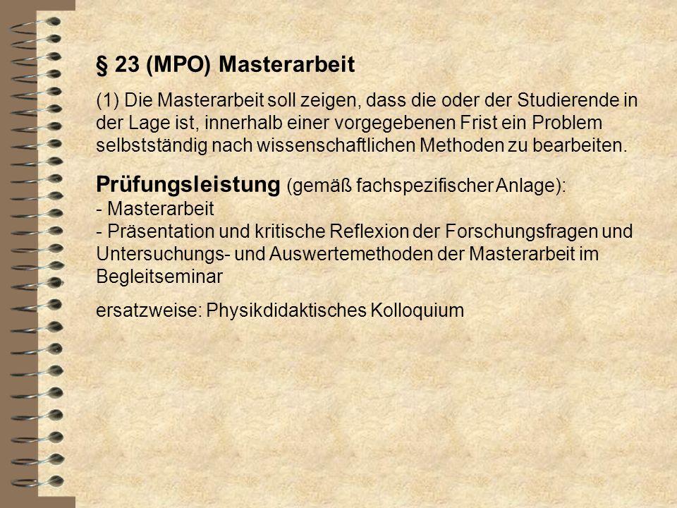§ 23 (MPO) Masterarbeit