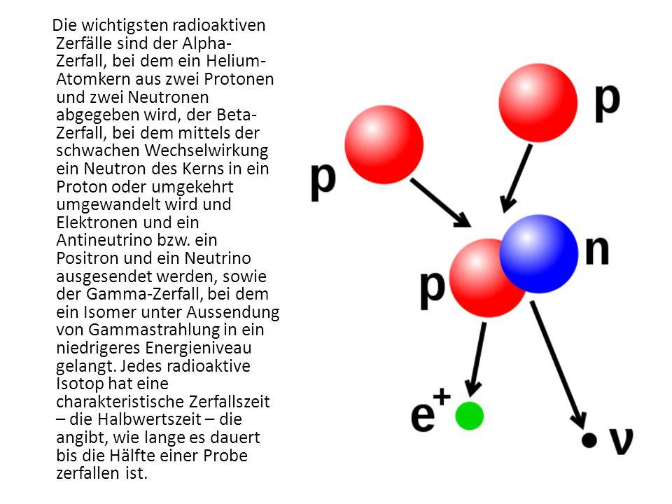 Die wichtigsten radioaktiven Zerfälle sind der Alpha-Zerfall, bei dem ein Helium-Atomkern aus zwei Protonen und zwei Neutronen abgegeben wird, der Beta-Zerfall, bei dem mittels der schwachen Wechselwirkung ein Neutron des Kerns in ein Proton oder umgekehrt umgewandelt wird und Elektronen und ein Antineutrino bzw.