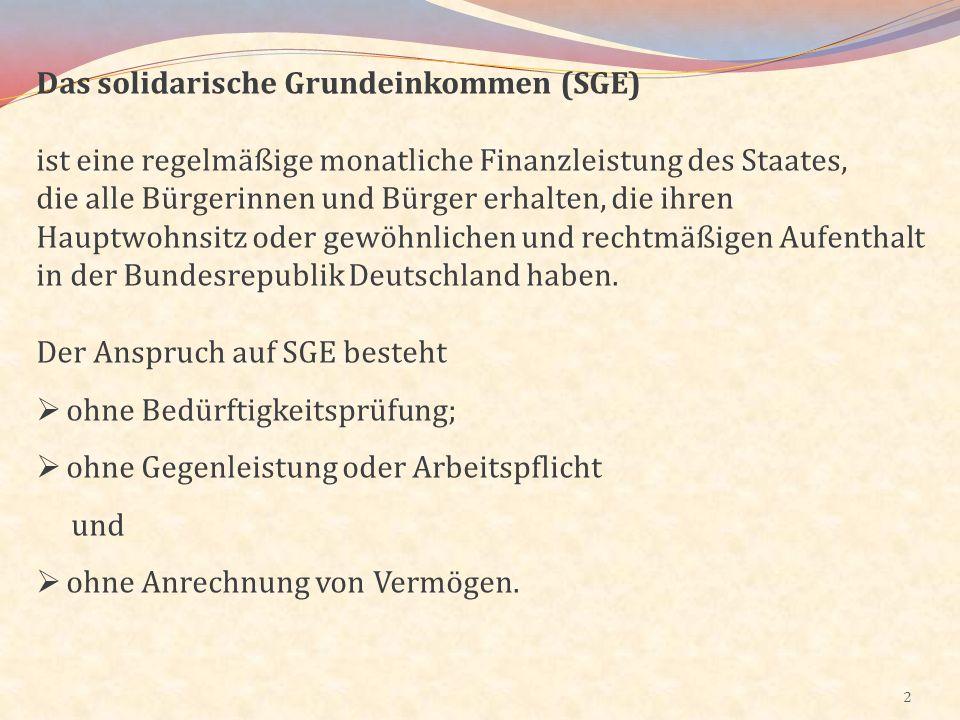 Das solidarische Grundeinkommen (SGE)