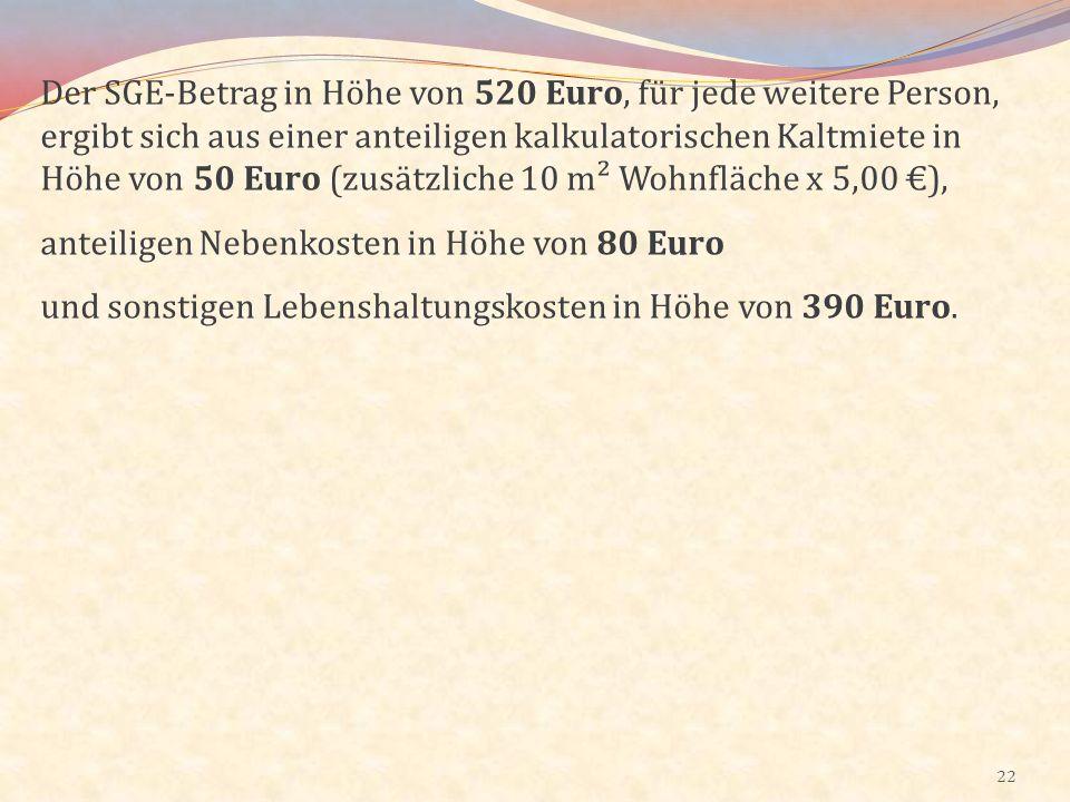 Der SGE-Betrag in Höhe von 520 Euro, für jede weitere Person, ergibt sich aus einer anteiligen kalkulatorischen Kaltmiete in Höhe von 50 Euro (zusätzliche 10 m² Wohnfläche x 5,00 €),
