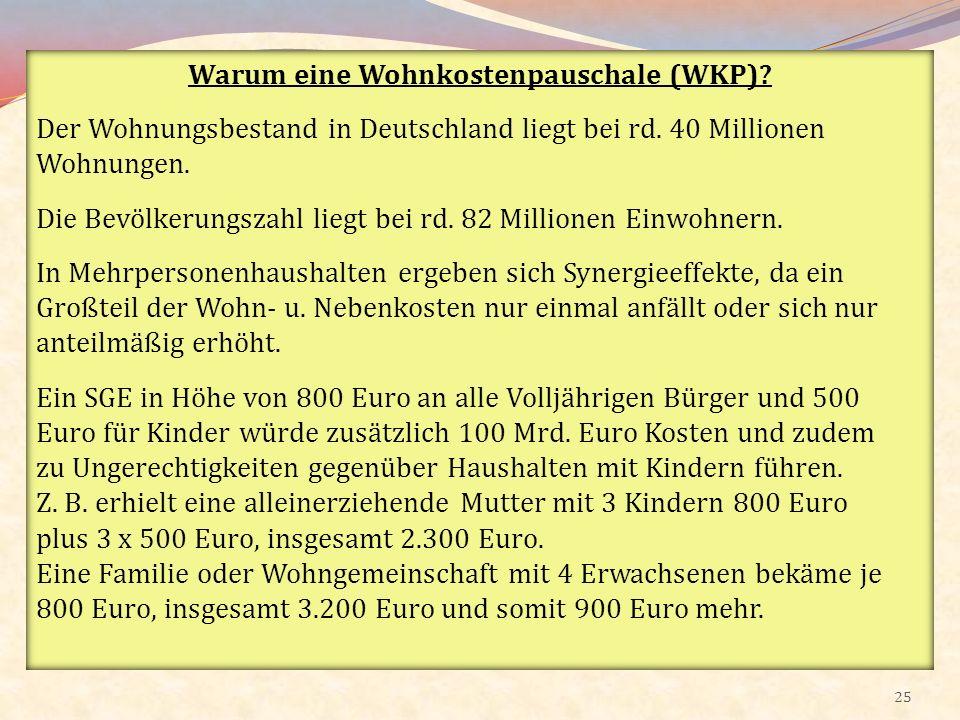 Warum eine Wohnkostenpauschale (WKP)