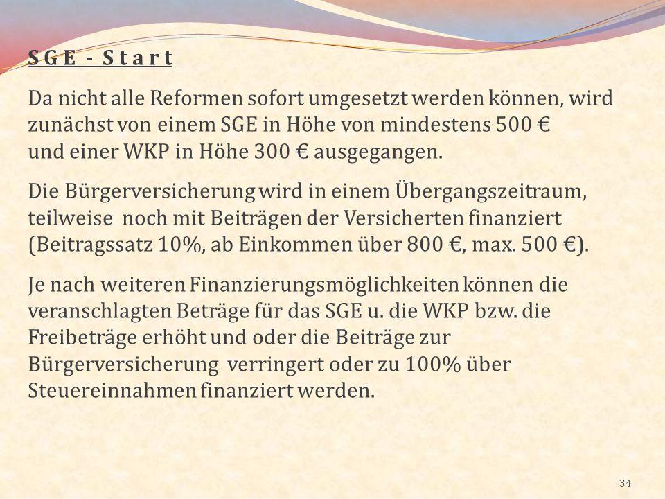 S G E - S t a r t Da nicht alle Reformen sofort umgesetzt werden können, wird zunächst von einem SGE in Höhe von mindestens 500 €