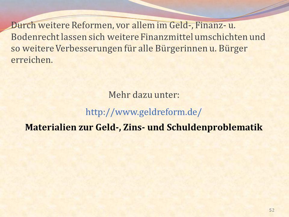 Materialien zur Geld-, Zins- und Schuldenproblematik