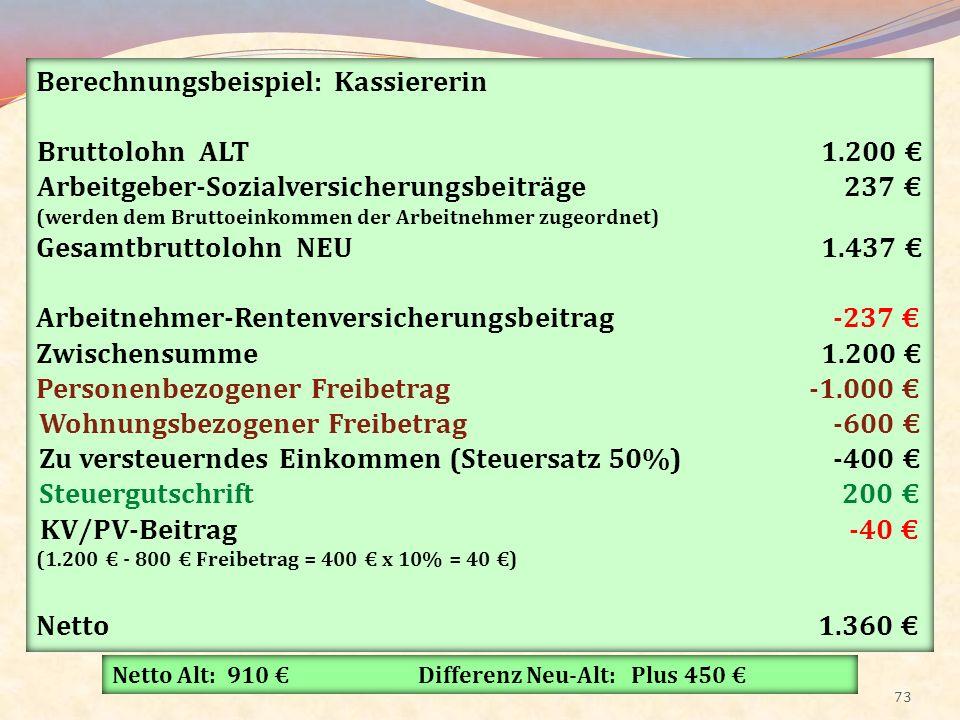 Berechnungsbeispiel: Kassiererin Bruttolohn ALT 1.200 €
