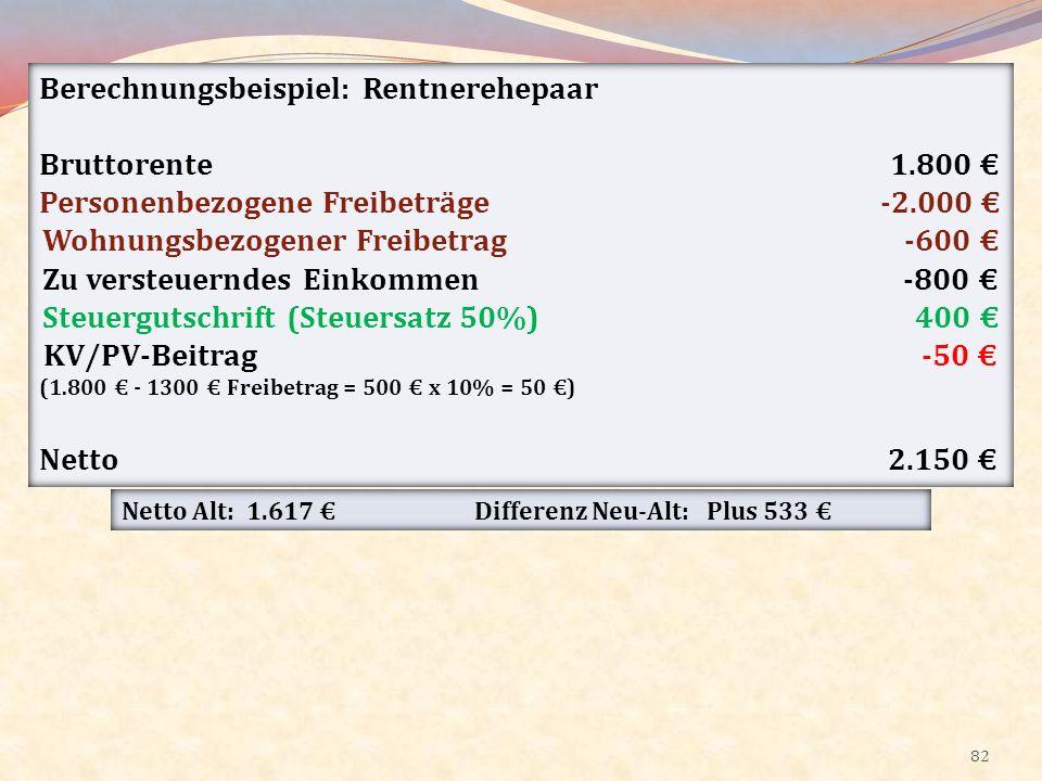 Berechnungsbeispiel: Rentnerehepaar Bruttorente 1.800 €