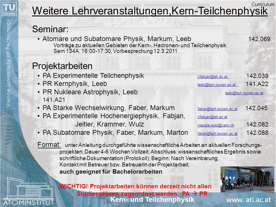 Weitere Lehrveranstaltungen,Kern-Teilchenphysik