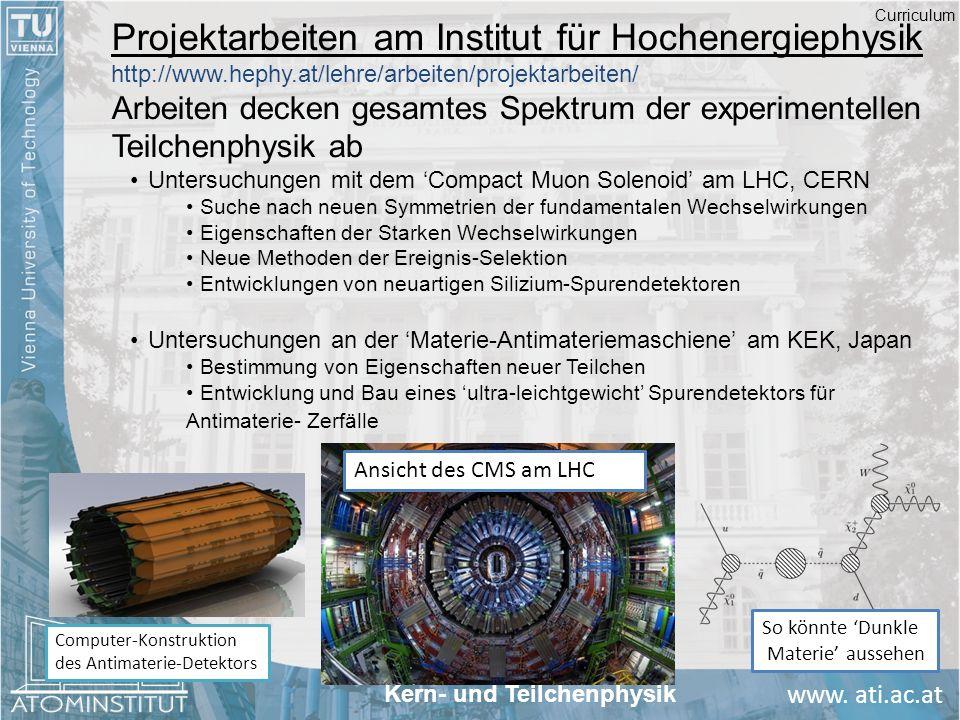 Curriculum Projektarbeiten am Institut für Hochenergiephysik http://www.hephy.at/lehre/arbeiten/projektarbeiten/
