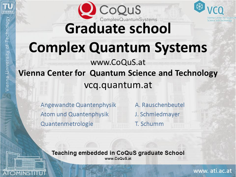 Teaching embedded in CoQuS graduate School