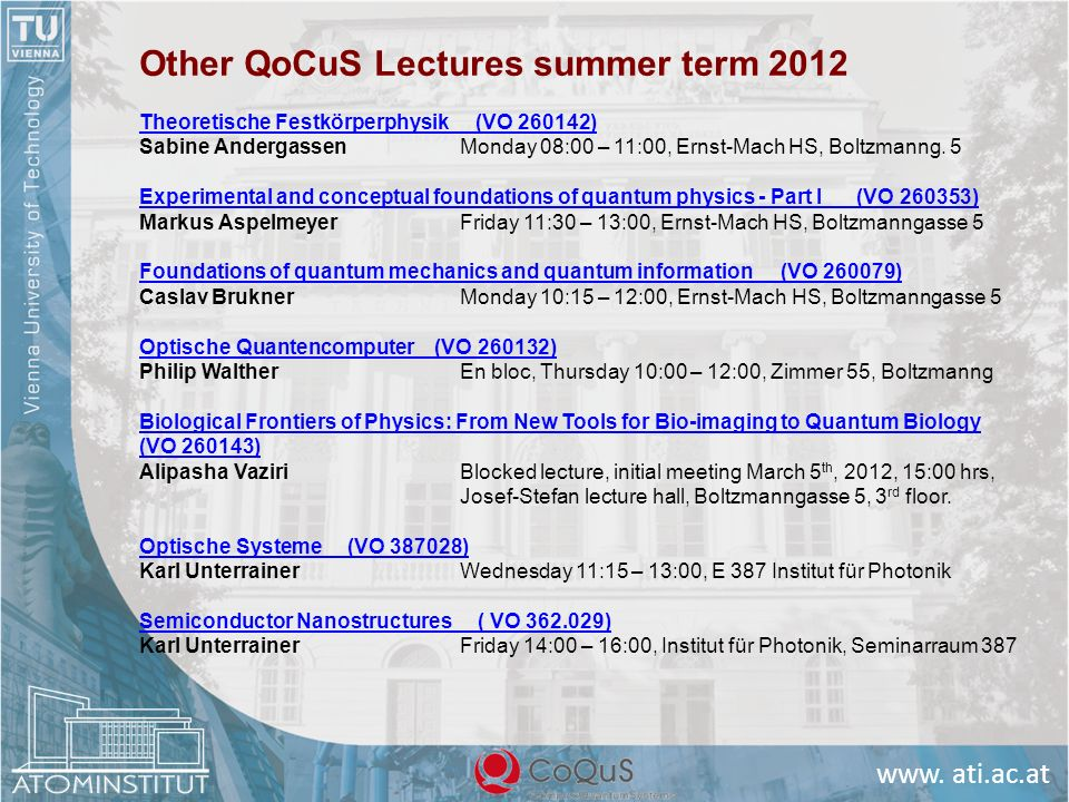 Other QoCuS Lectures summer term 2012