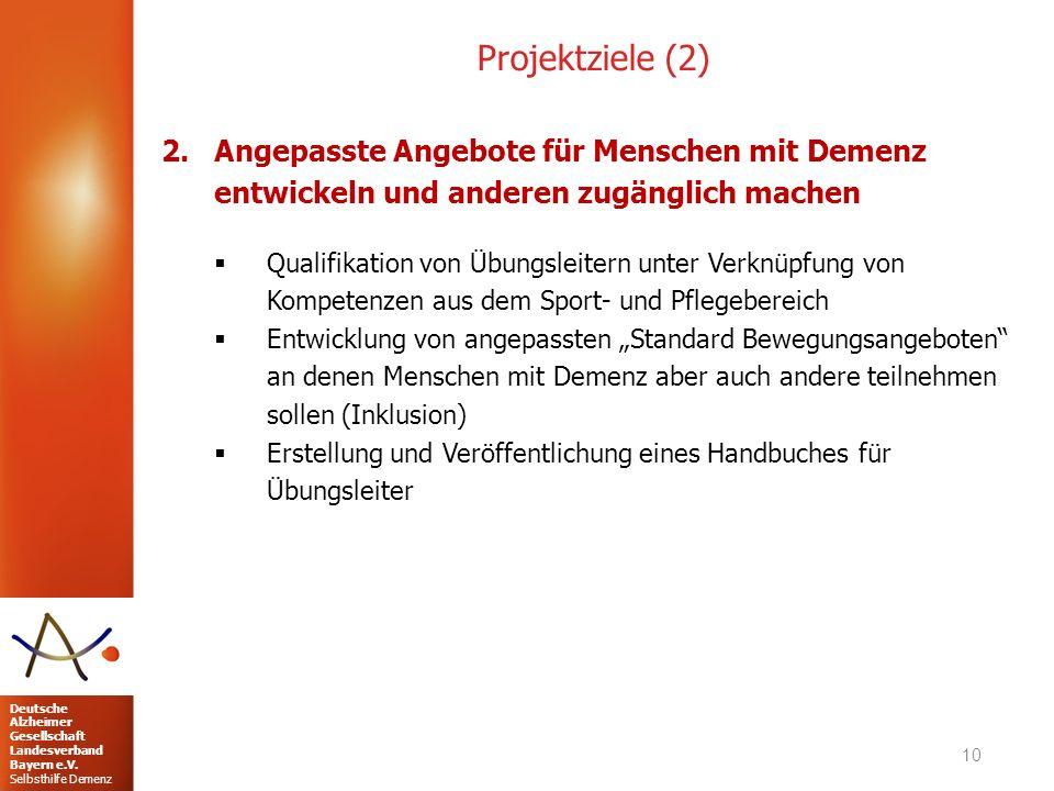 Projektziele (2) Angepasste Angebote für Menschen mit Demenz entwickeln und anderen zugänglich machen.