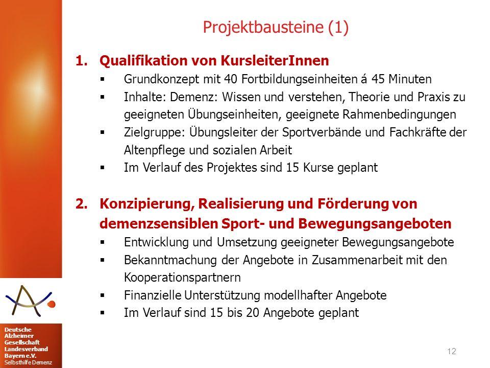Projektbausteine (1) Qualifikation von KursleiterInnen