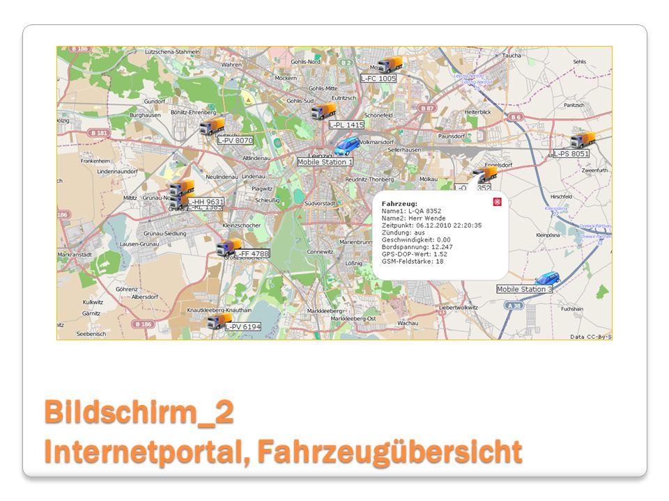 Bildschirm_2 Internetportal, Fahrzeugübersicht