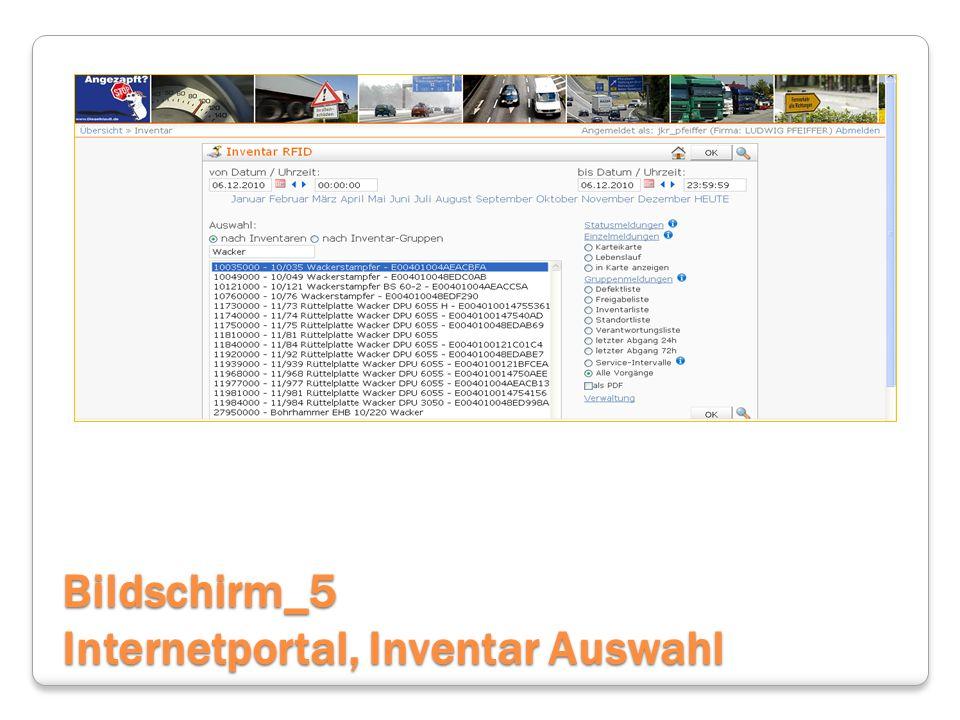 Bildschirm_5 Internetportal, Inventar Auswahl