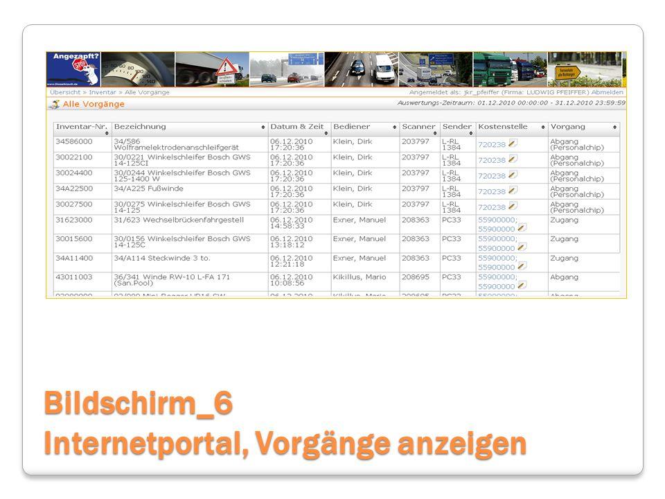 Bildschirm_6 Internetportal, Vorgänge anzeigen