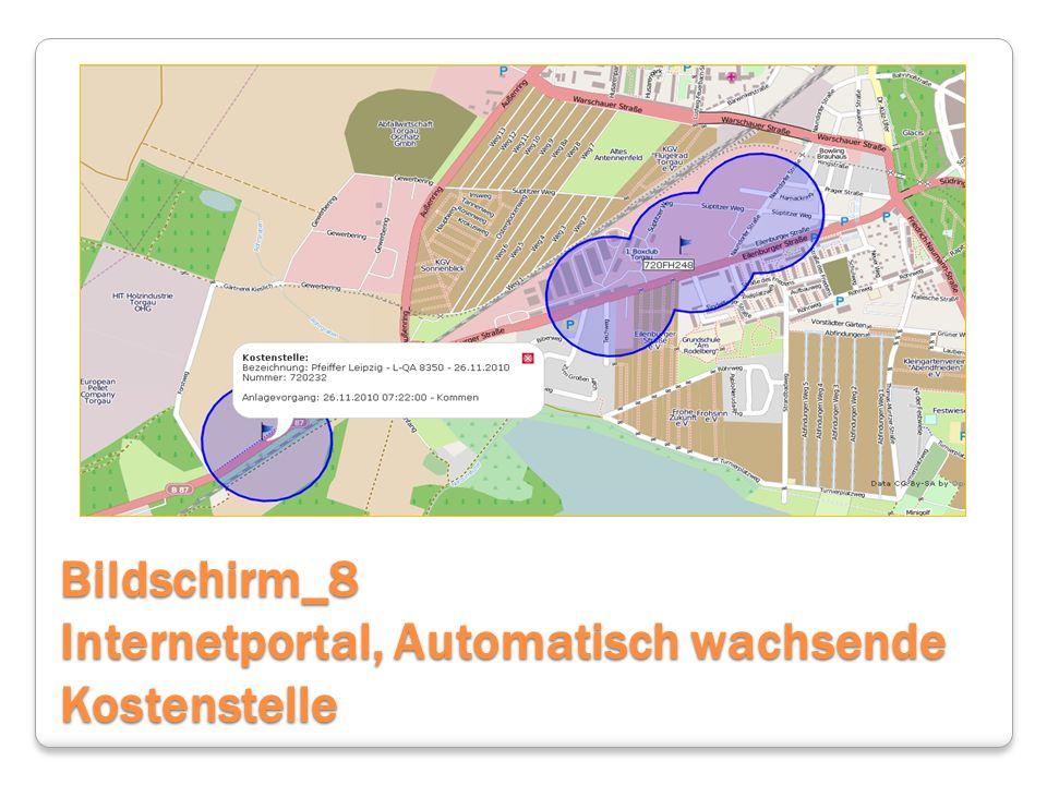 Bildschirm_8 Internetportal, Automatisch wachsende Kostenstelle