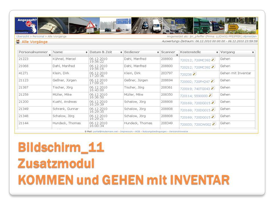 Bildschirm_11 Zusatzmodul KOMMEN und GEHEN mit INVENTAR