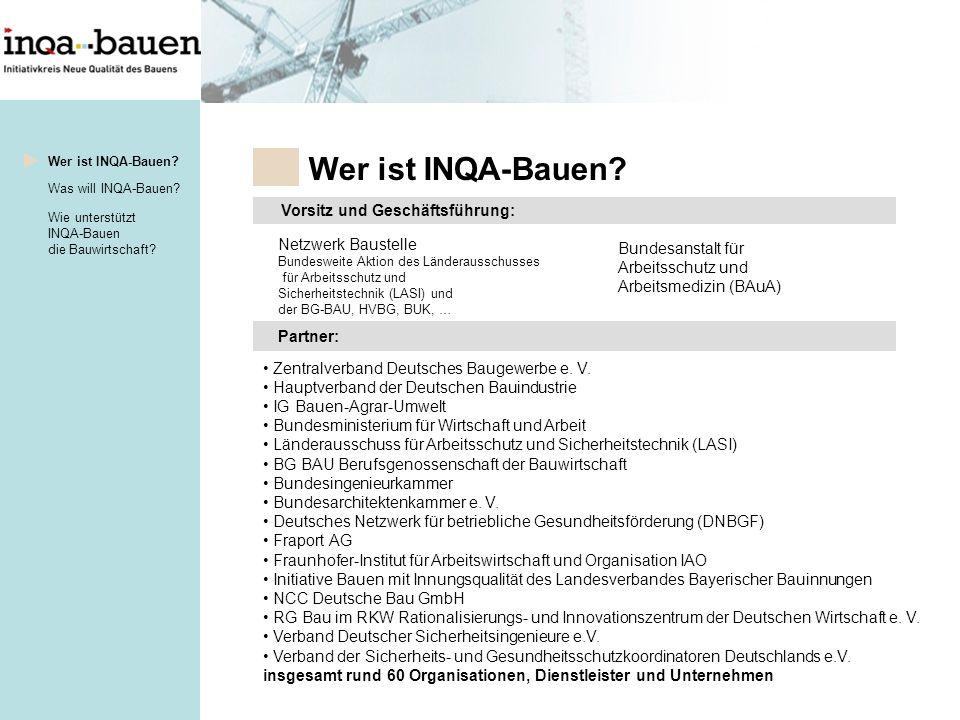 Wer ist INQA-Bauen Vorsitz und Geschäftsführung: Netzwerk Baustelle