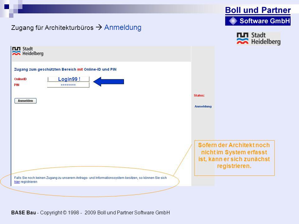 Zugang für Architekturbüros  Anmeldung