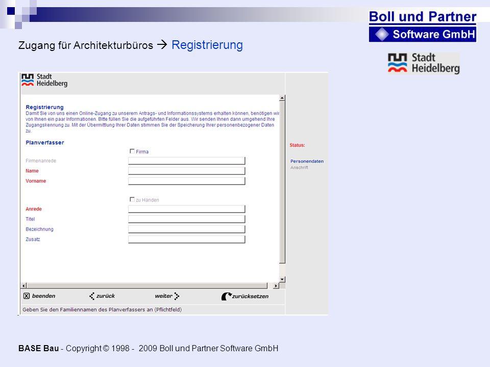 Zugang für Architekturbüros  Registrierung