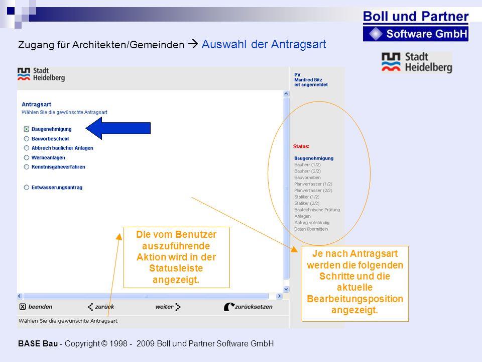 Zugang für Architekten/Gemeinden  Auswahl der Antragsart