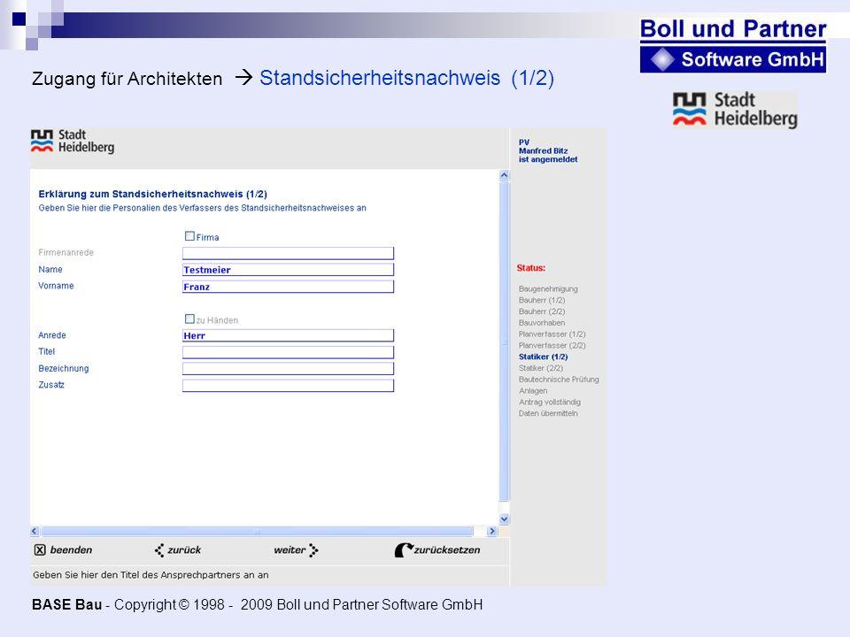 Zugang für Architekten  Standsicherheitsnachweis (1/2)
