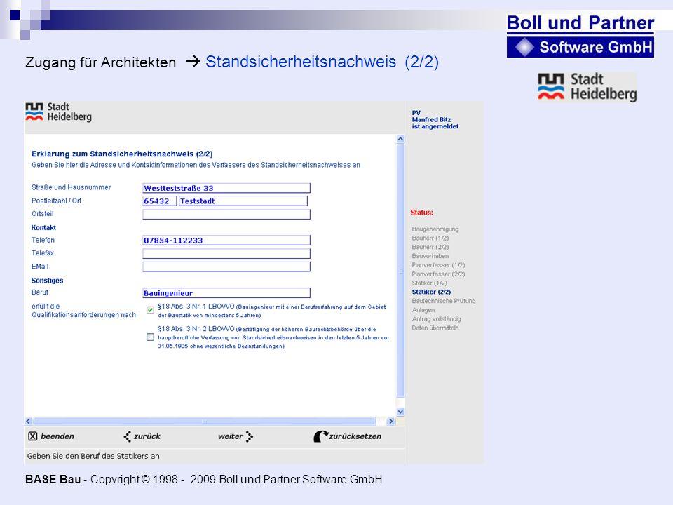 Zugang für Architekten  Standsicherheitsnachweis (2/2)