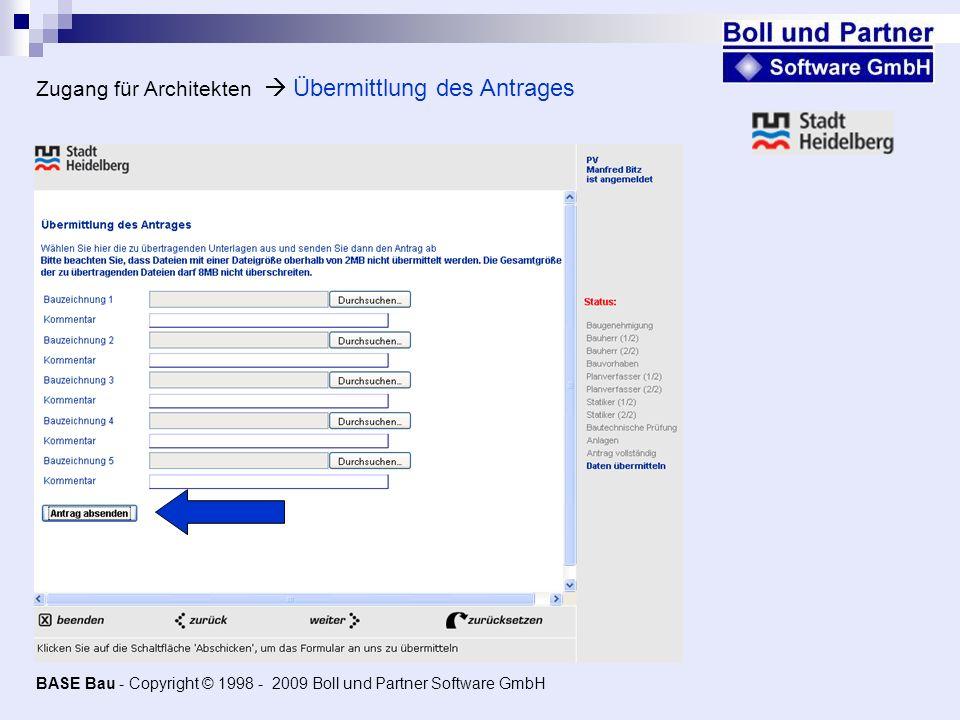 Zugang für Architekten  Übermittlung des Antrages